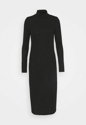 NMCRISTINA CALF HIGH NECK DRESS - Jumper dress - black melange