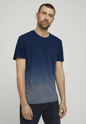 T-shirt med print - offwhite navy stripes