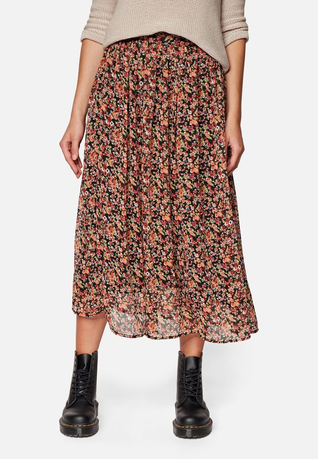 Pleated skirt - baked clay grunge flower print