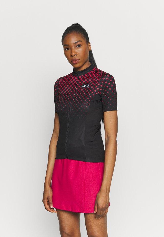 HAKKA - T-shirt print - black/hibiscus pink