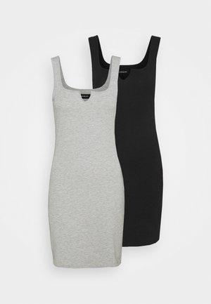 2 PACK - Jersey dress - black/mottled grey