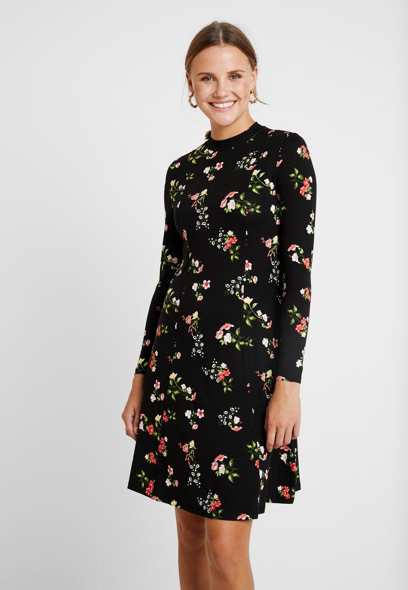 Dorothy Perkins - WINTER FLORAL PRINT HIGH NECK SWING - Jersey dress - black