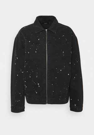 PAINT SPLATTERED CARPENTER JACKET - Džínová bunda - black