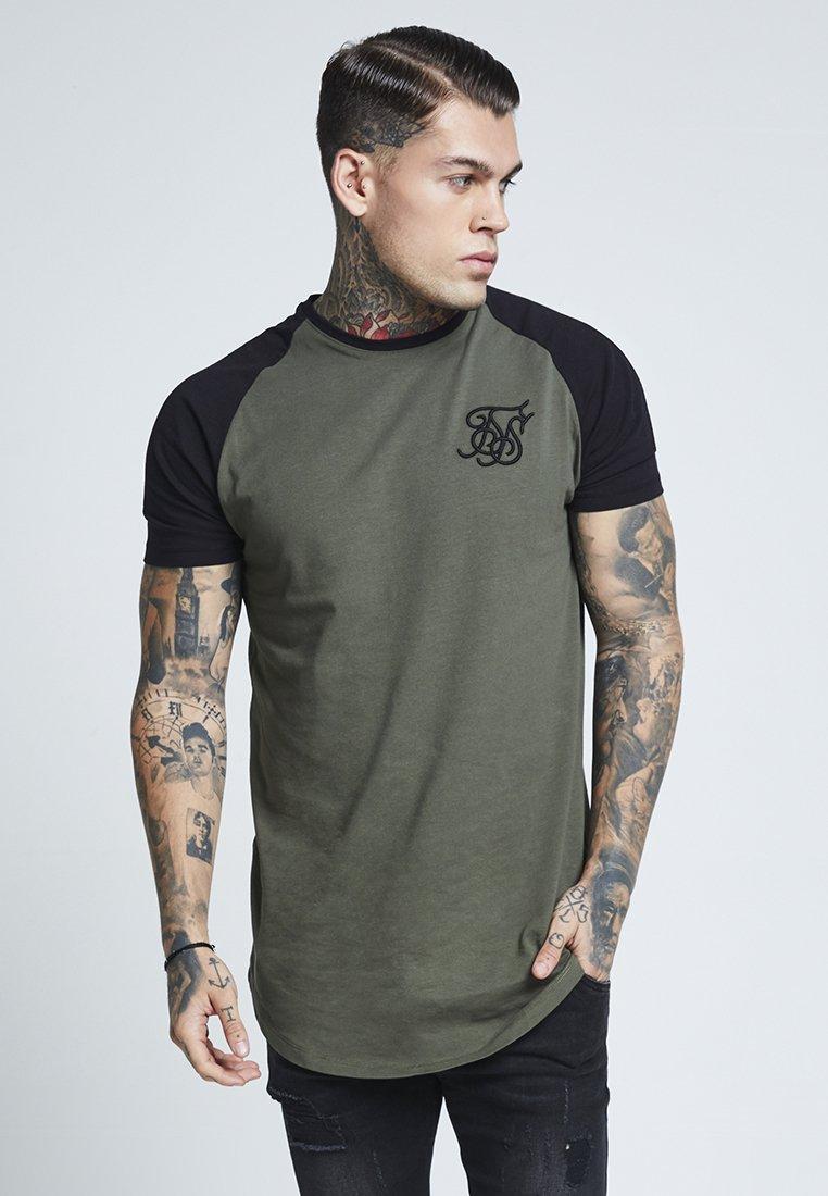 SIKSILK - RAGLAN GYM TEE - T-shirt print - khaki & black