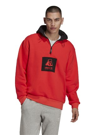 PBEAR ORIGINALS ADVENTURE SWEATSHIRT HOODIE LOOSE - Sweatshirt - bright red