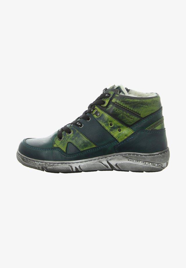 Lace-up ankle boots - schwarz grün