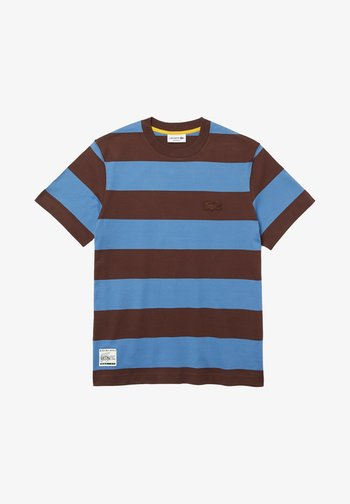 T-shirt print - bleu / marron