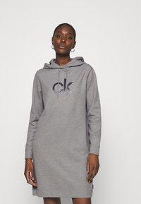 Calvin Klein - HOODED DIAMANTE DRESS - Day dress - mid grey heather - 0
