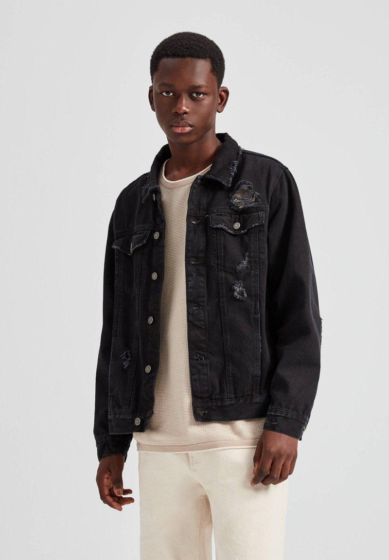 PULL&BEAR - Džínová bunda - dark grey