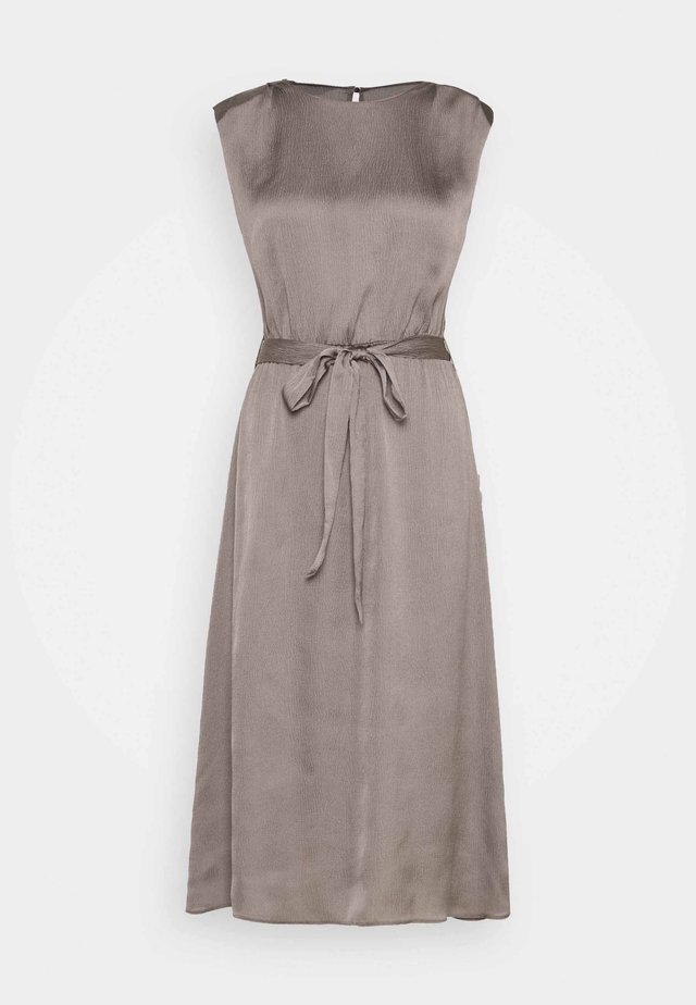 SHOULDER PAD SLEEVELESS MIDI DRESS - Day dress - silver