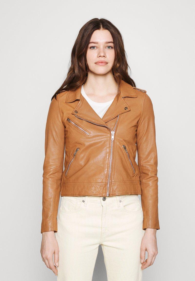 Vero Moda - VMMILANO JACKET - Leather jacket - cognac