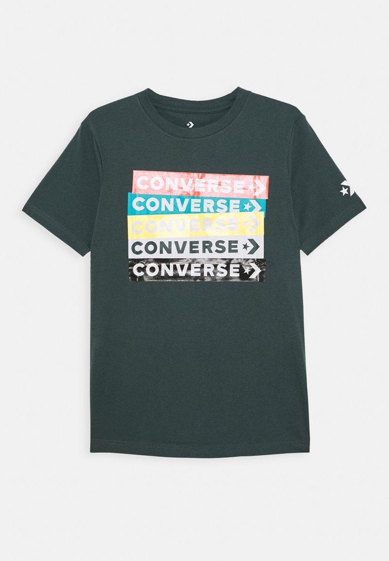 Converse - COLOURBLOCKED LOGO TEE - Print T-shirt - faded spruce