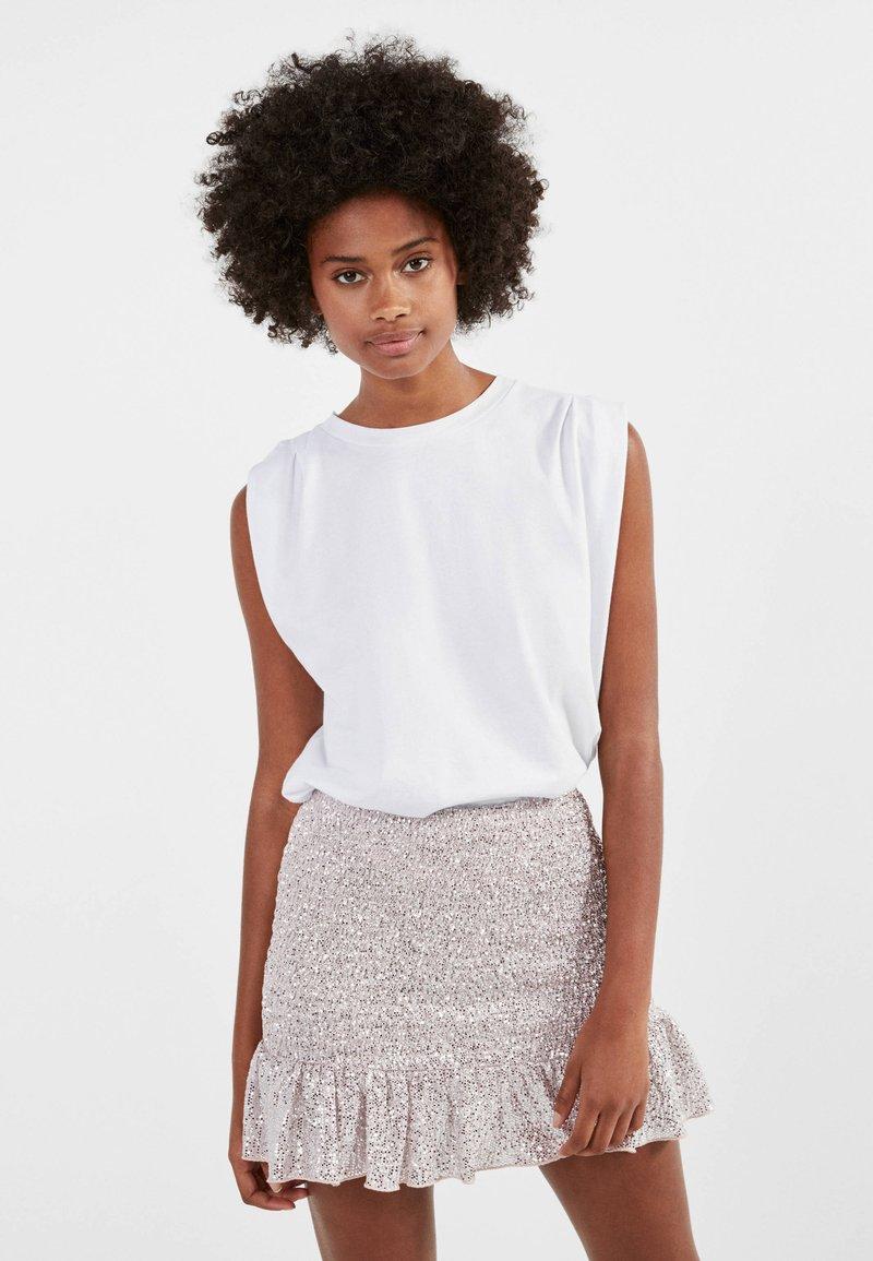 Bershka - MIT GLITZER  - A-line skirt - pink