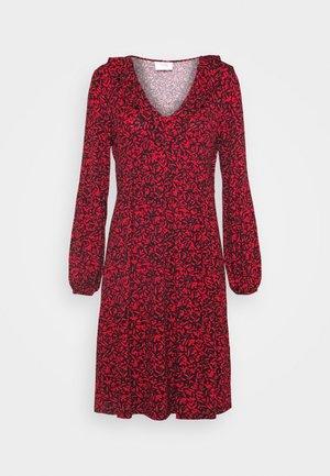 MINI BERRY FRILL V NECK DRESS - Jersey dress - red