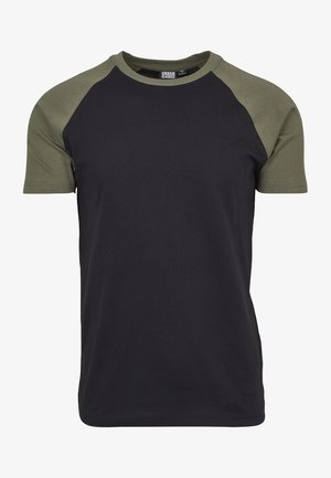 RAGLAN CONTRAST  - T-shirt con stampa - black/mottled olive