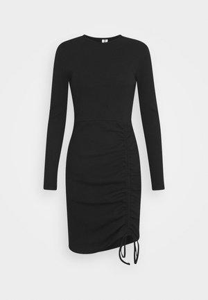 DRAWSTRING DRESS - Žerzejové šaty - black