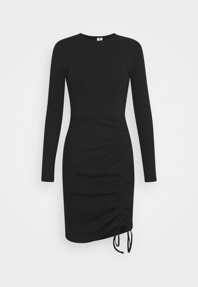 DRAWSTRING DRESS - Jerseykleid - black