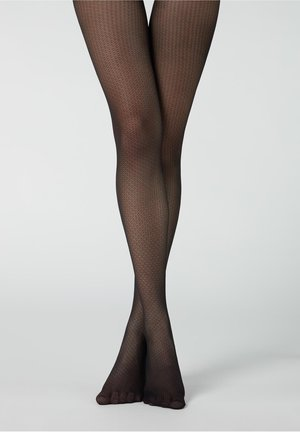 MIT MINI-RAUTENMUSTER - Tights - blau - black micro diamonds