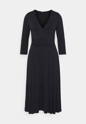 DRESS LONG SLEEVE WRAPPED - Jerseyjurk - black