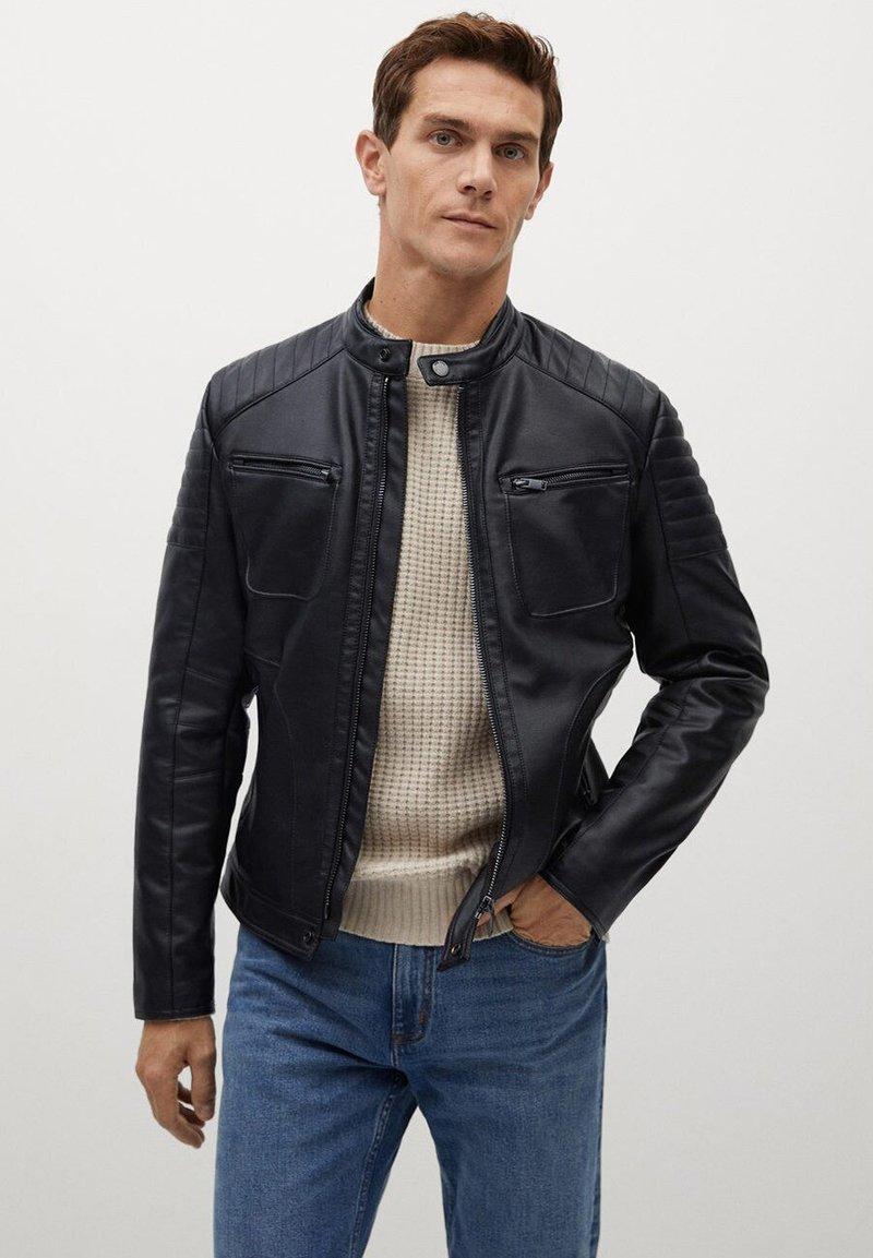 Mango - JOSENO - Leather jacket - black