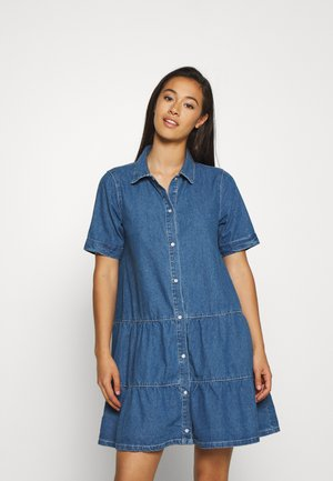 SHORT SLEEVE DRESS - Denim dress - mid blue