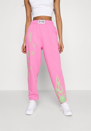 FLAME AND LOGO JOGGER - Tracksuit bottoms - pink