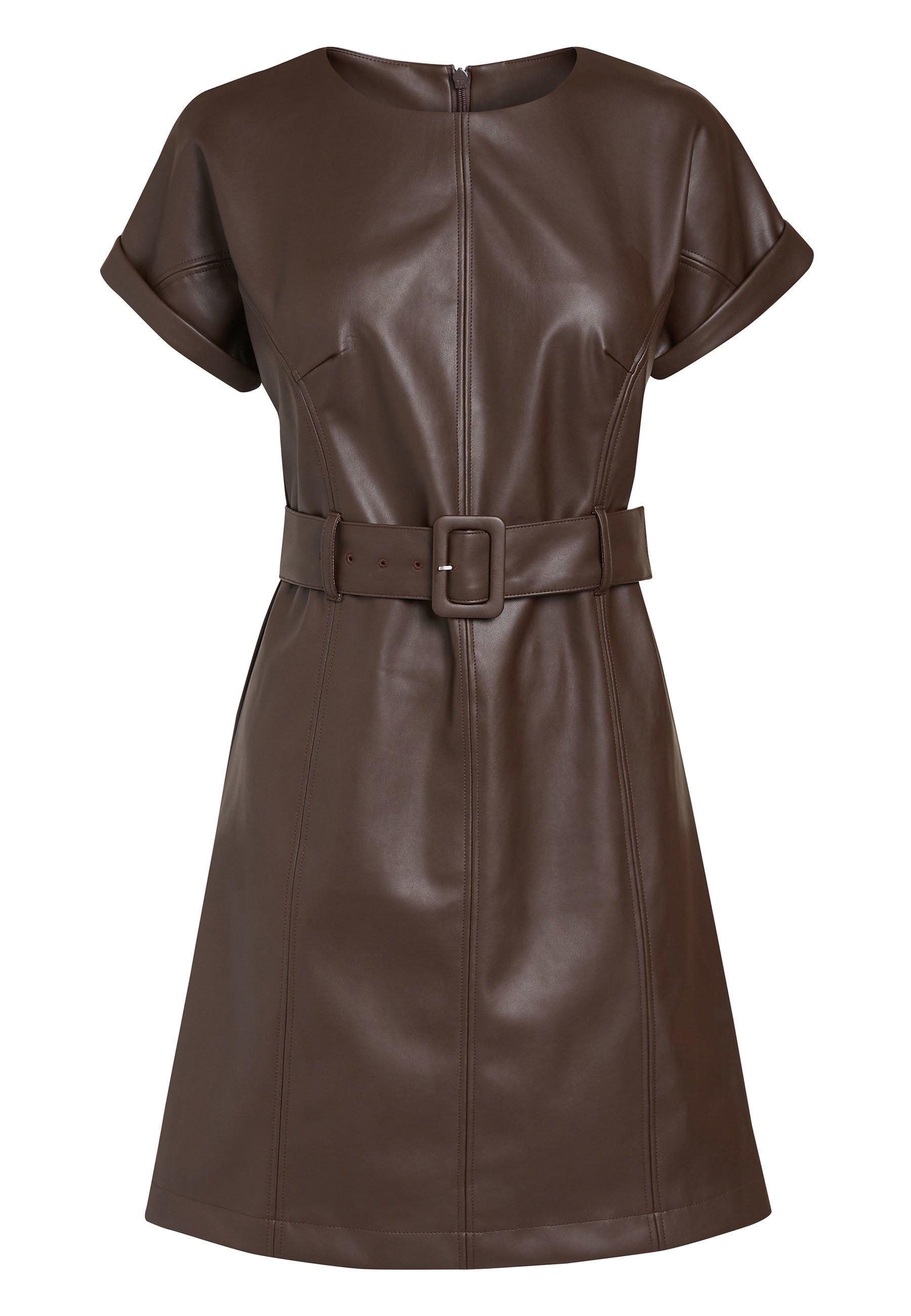 Damen BROWN PU DRESS - Freizeitkleid