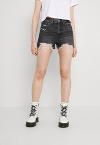 American Eagle - HIGHEST RISE - Denim shorts - washed black - 0
