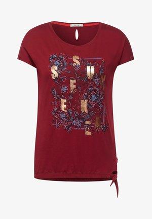 MIT SCHLEIFEN DETAIL - Print T-shirt - braun