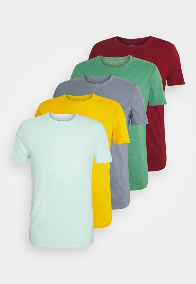 5 PACK - Basic T-shirt - green/grey/yellow