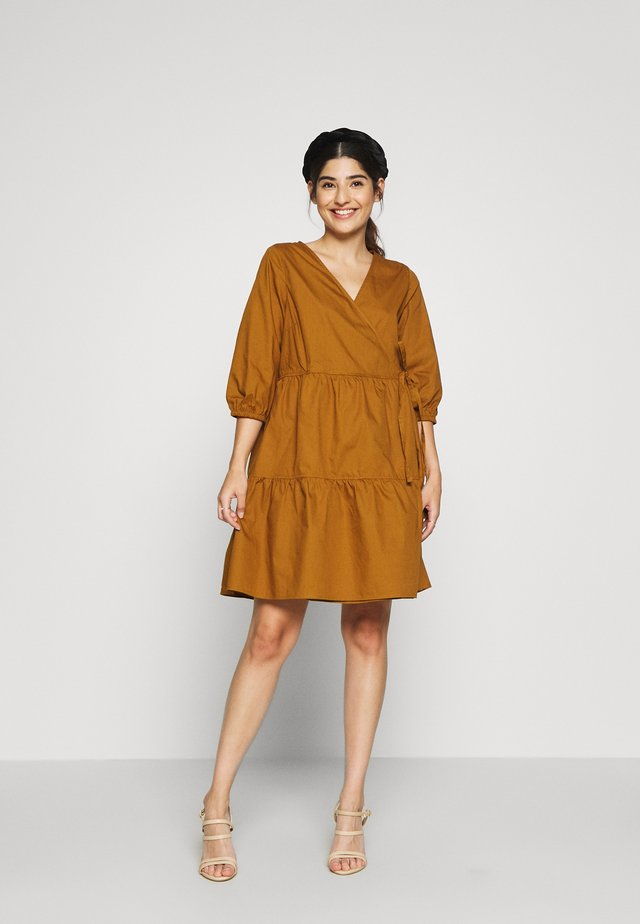 OBJSCHINNI WRAP DRESS PETIT - Day dress - brown