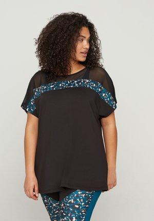 MIT MESH UND PRINT - Camiseta estampada - black