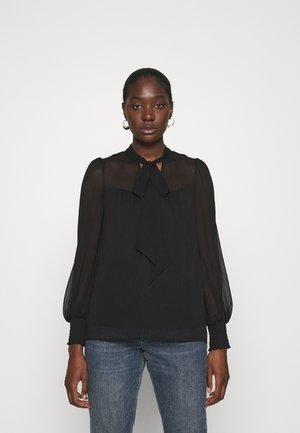 LONG SLEEVE TIE NECK TOP - Blouse - black