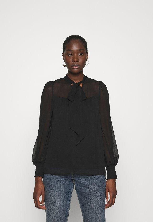 LONG SLEEVE TIE NECK TOP - Bluse - black