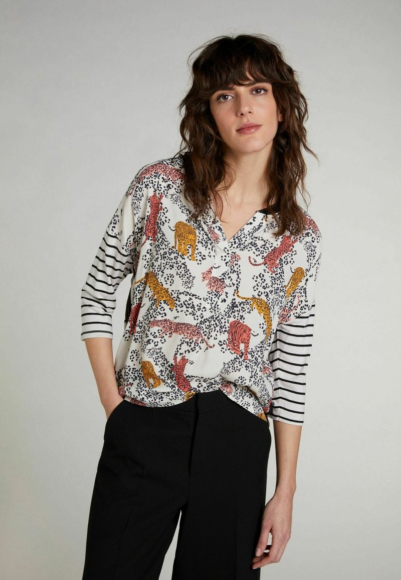 Oui - HALBARM - Blouse - offwhite red