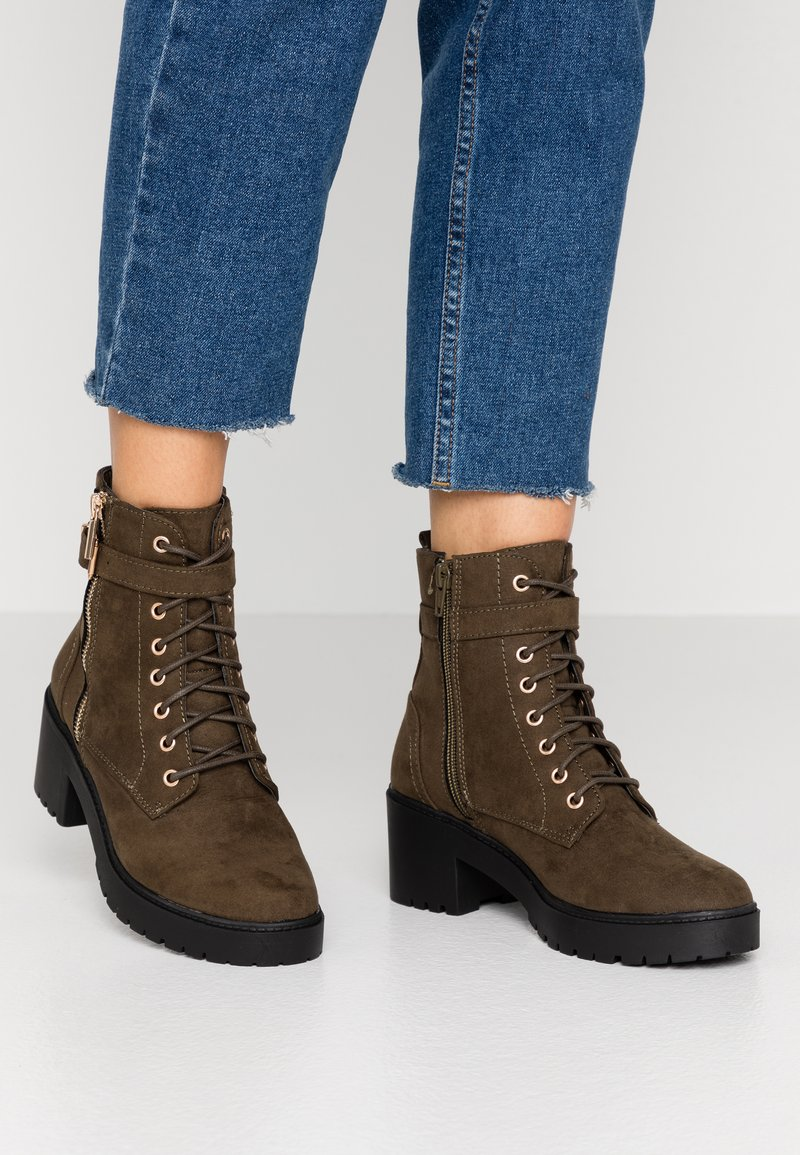 Dorothy Perkins - MANTA SIDE ZIP LACE UP - Platform ankle boots - khaki