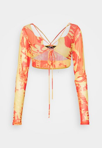 STRAPPY CROP WITH SLEEVES - Long sleeved top - orange/ yellow
