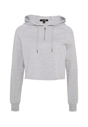 KNOCK OUT CROP HOODIE - Hoodie - grey marle