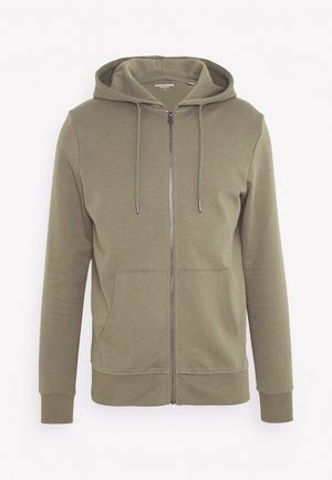 JJEBASIC ZIP HOOD - Felpa aperta - dusty olive