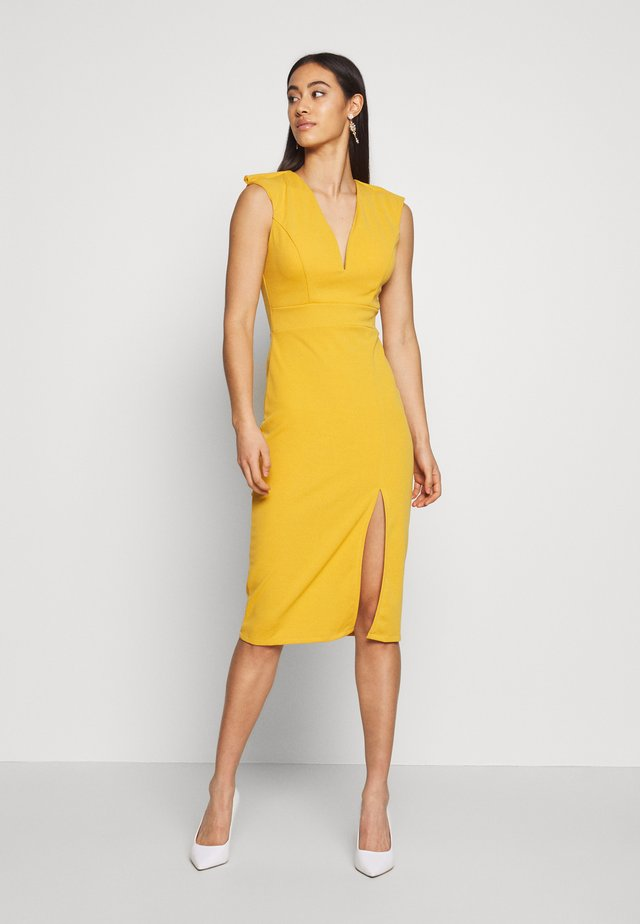 MIDI FITTED FRONT SPLIT DRESS - Sukienka etui - mustard