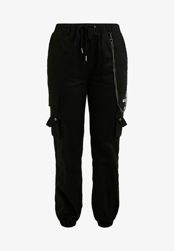EMBROIDERED CHAIN CARGO - Bukse - black