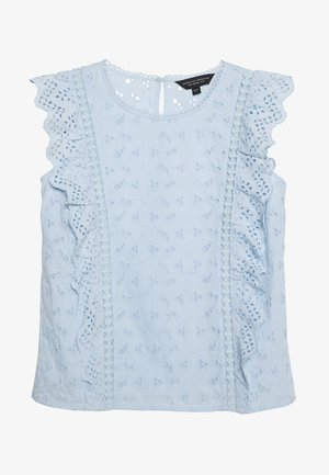 BRODERIE SLEEVELESS - Bluser - pale blue