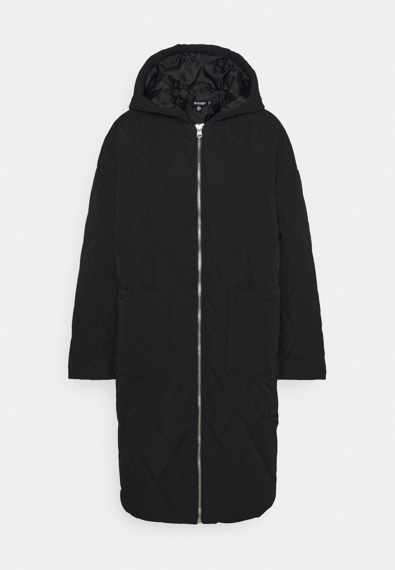 Missguided - QUILTED LONGLINE COAT - Parka - black