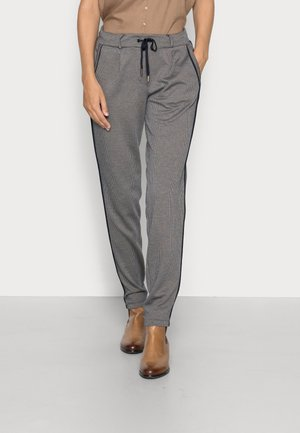 CHECKED LOOSE FIT PANTS - Trousers - navy beige houndstooth