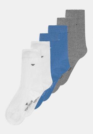 BASIC 6 PACK UNISEX - Sokken - white/sea blue/grey melange