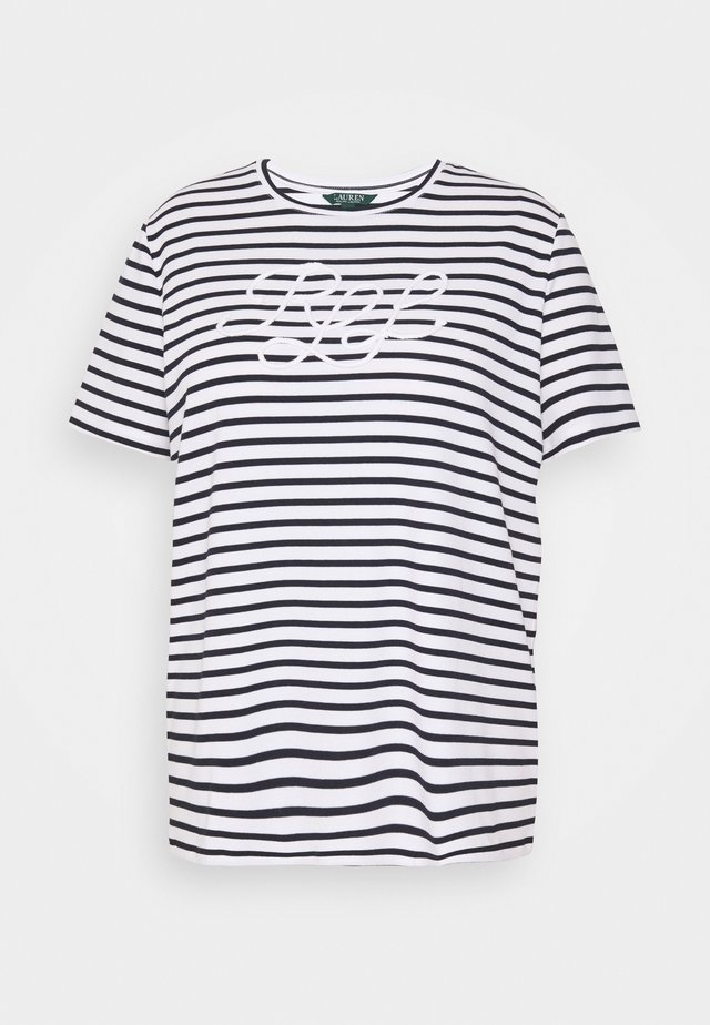 KATLIN SHORT SLEEVE - T-shirt imprimé - white/lauren navy