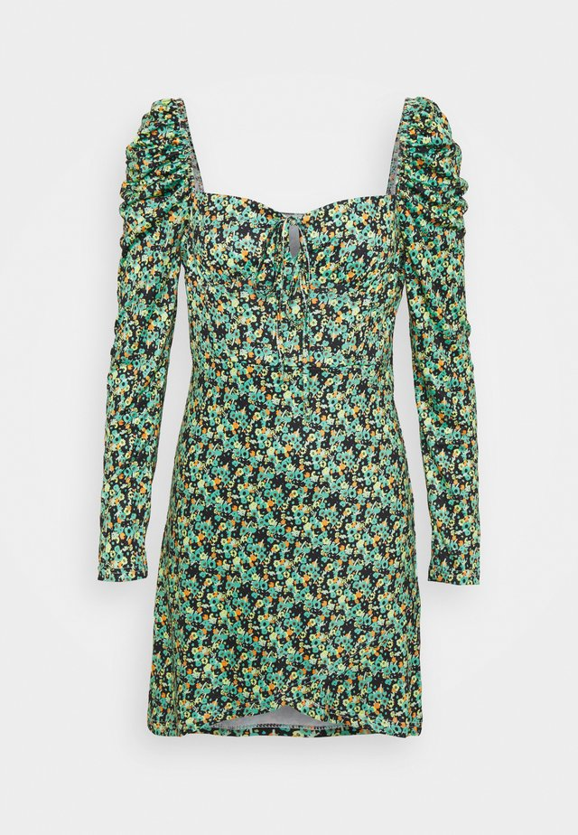 WRAP MINI DRESS WITH LONG SLEEVES AND SQUARE NECKLINE  - Korte jurk - green