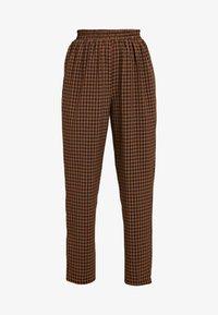 Missguided - TIE WAIST SLIM LEG TROUSERS - Kalhoty - brown - 4