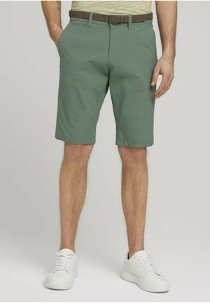 MIT GÜRTEL - Shorts - green base grey grid design