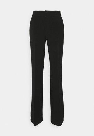 SLIM FLARE STRUCTURED  - Trousers - black